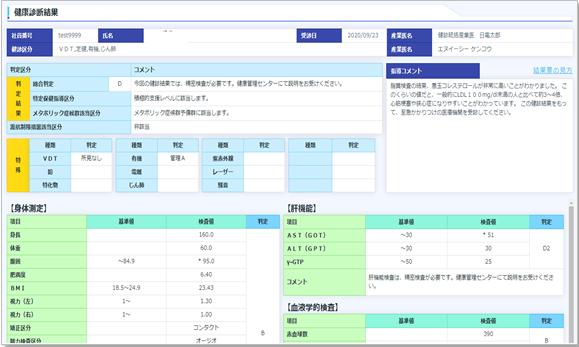 健康診断結果の画面イメージ