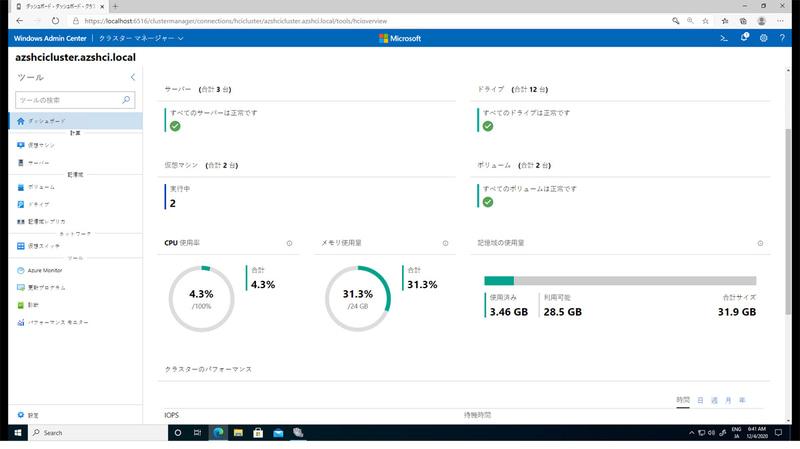 Windows Admin Center クラスターマネージャーダッシュボードの画面イメージ。クラスター全体の状況が確認できるダッシュボードだ(出典:日本マイクロソフト)