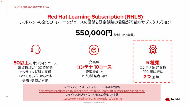 トレーニングコースと認定試験の「RH Learning Subscription(RHLS)」