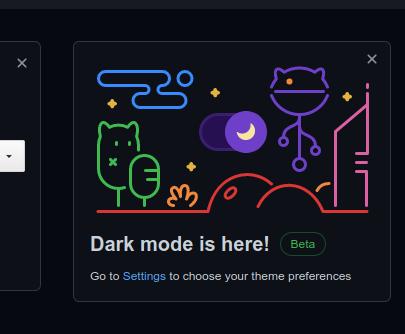 筆者のところで表示されたDark modeの案内(Dark modeを有効にした状態で撮影)
