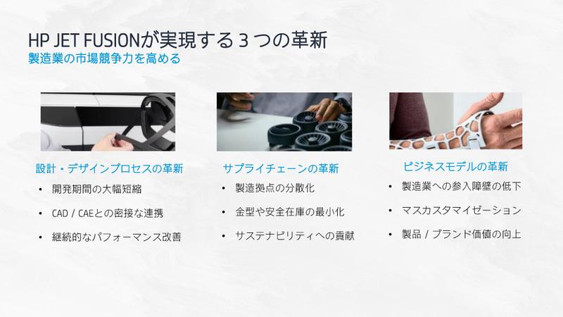 HP JET FUSIONが実現する3つの革新