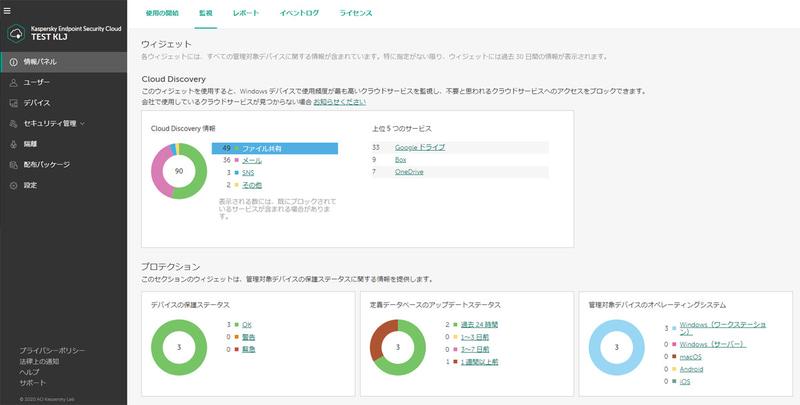 Cloud Discovery機能による、クラウドサービス使用の可視化および制御画面例