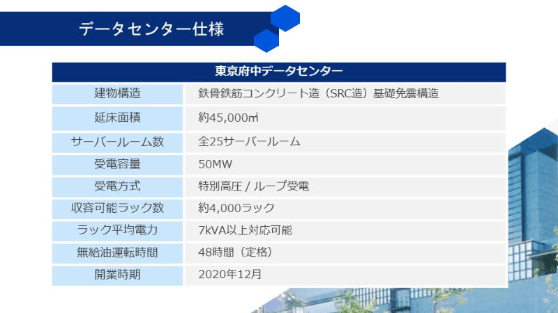 東京府中データセンターの仕様