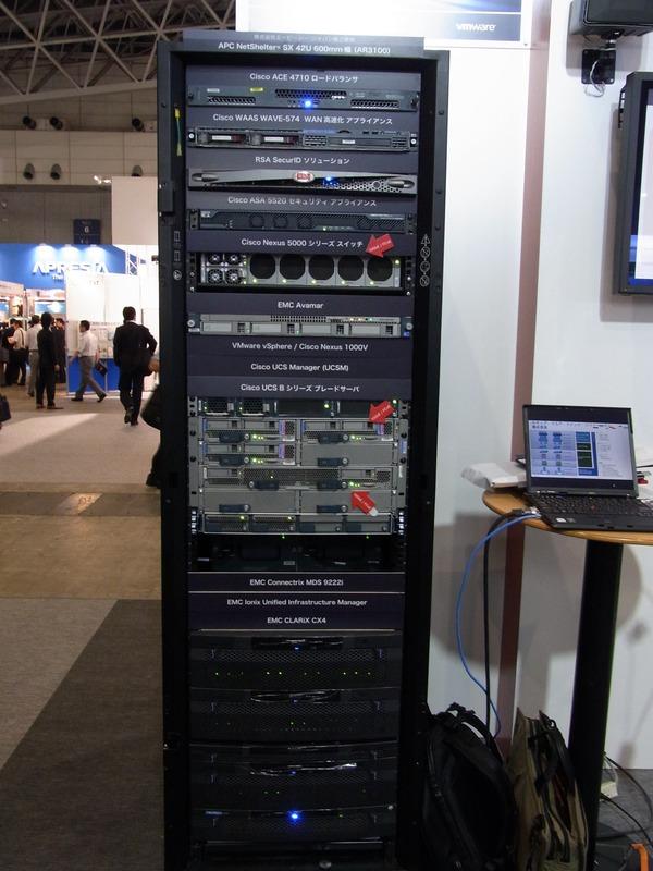 UCSシリーズ+VMware vSphereを中心に、EMC CLARiX CX4、ロードバランサACE 4710、セキュリティアプライアンスASA 5520、WAN高速化アプライアンスWAAS WAVE-574、SecureIDソリューションなど