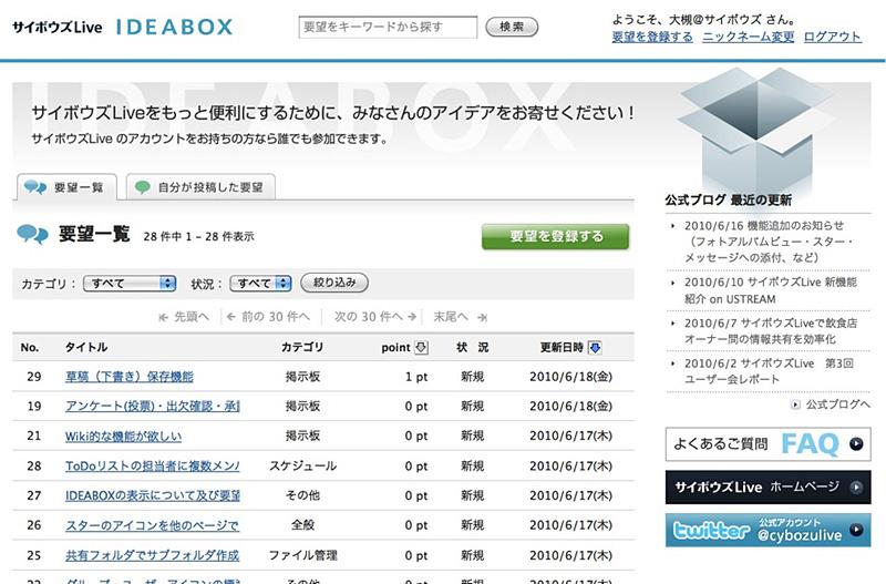 IDEABOX画面例。利用するには、サイボウズLiveにログインする必要がある