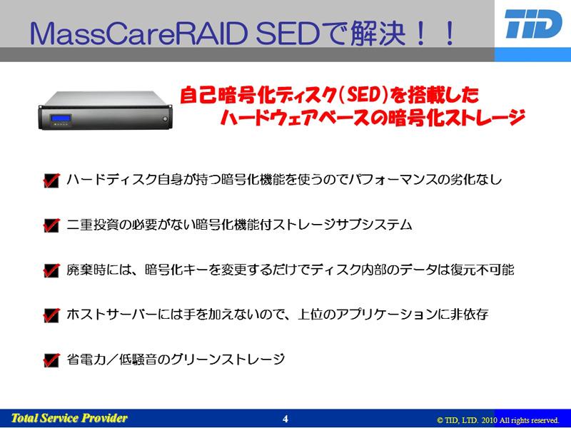 MassCareRAID SEDの特徴