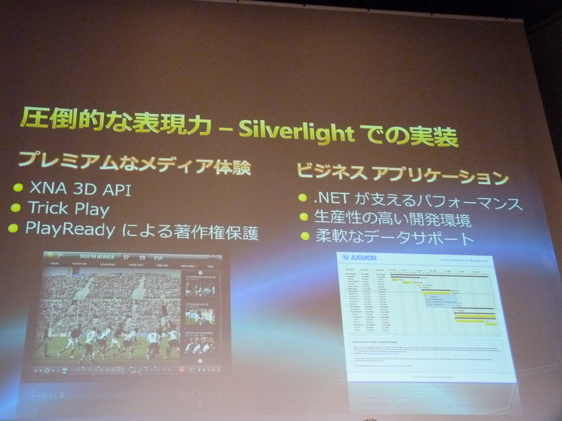 高い表現力が特徴となるSilverlight