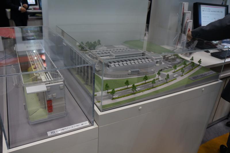 コンテナ型の松江データセンターの模型