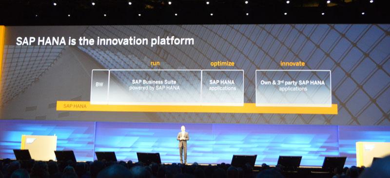 「稼働(RUN)から最適化(Optimize)へ、そしてイノベーション(Innovation)のためのプラットフォームとしてHANAは進化を遂げてきた」とスナーべ氏