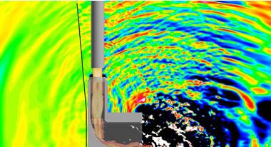 イプシロンロケットの低騒音射点シミュレーション(出典:JAXA/情報・計算工学センター)