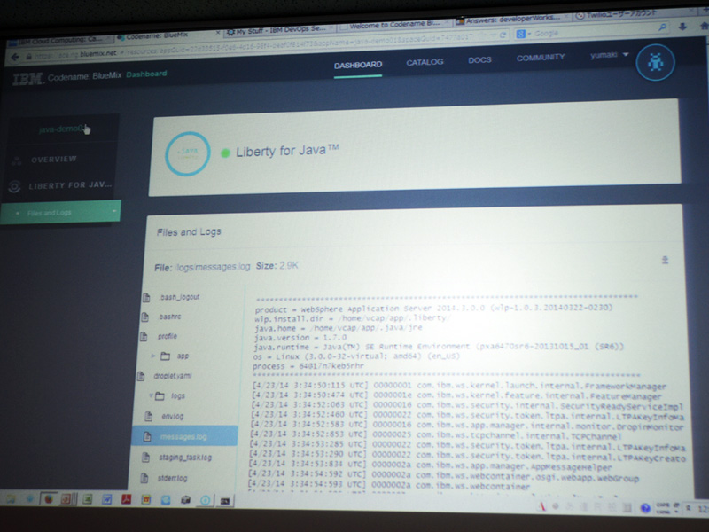 BlueMixのデモ画面。Liberty for Javaを使い、コーディングを実施しているところ