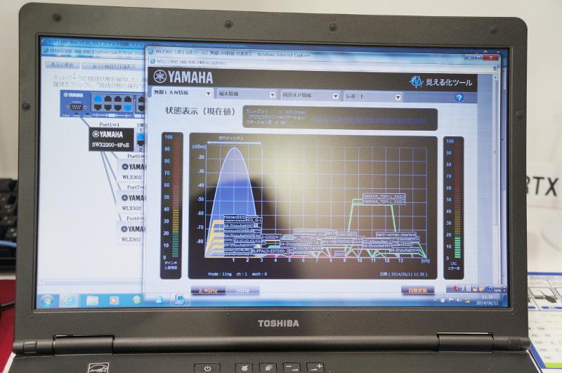 WLX302の特徴である、電波状況の見える化機能。Interop会場だけに多数の無線LAN電波が飛び交っている