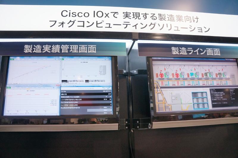 右が情報の起点となる製造ラインのイメージ(動画)。左が最終的にデータを管理するサーバー側