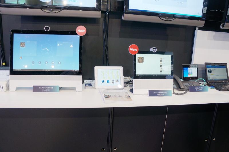 デスクトップ型のビデオ会議端末2種と、ビデオ電話型端末