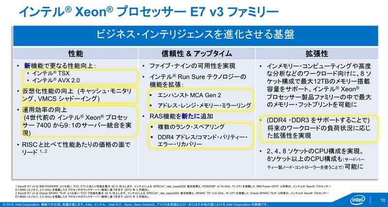 Xeon E7 v3が持つ各種機能は、企業のミッションクリティカルサーバーとして必要な基盤を提供する