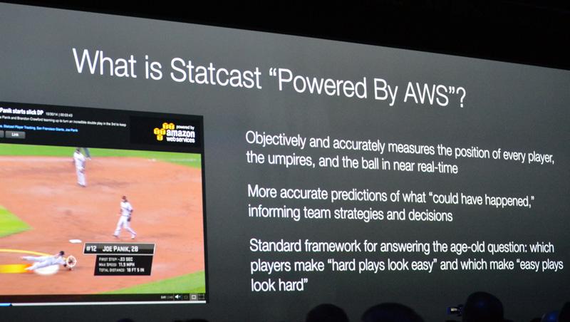 昨年のre:Inventで発表されたMLBのStatchat。AWSのあらゆるサービスが駆使されており、これまでにない野球観戦が実現した(スライドはre:Inventのもの)