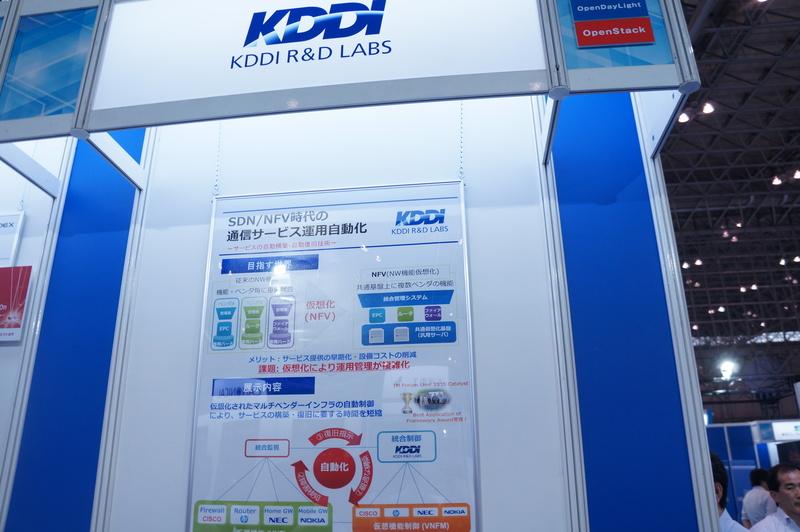 KDDI研究所のブース。通信の共通基盤機能を汎用サーバー上の仮想機能として自動制御する