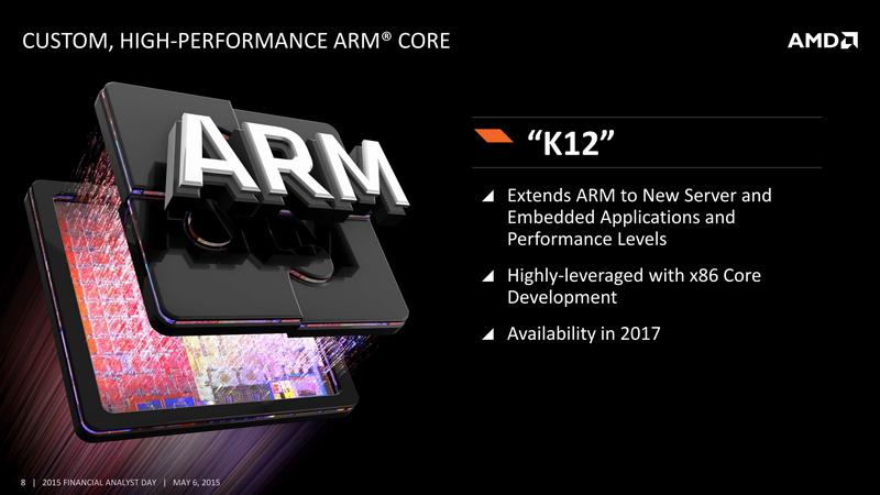 K12は、AMDがARMからアーキテクチャライセンスを取得して、独自開発する64ビットARMプロセッサ。サーバーなどの用途でも利用できるようにパフォーマンスをアップしている
