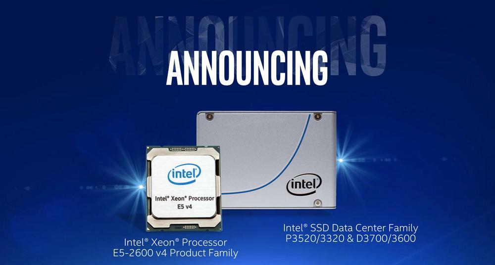 Broadwell世代の2ソケット プロセッサXeon E5-2600 v4シリーズと、同時に発表されたデータセンター向けのSSD