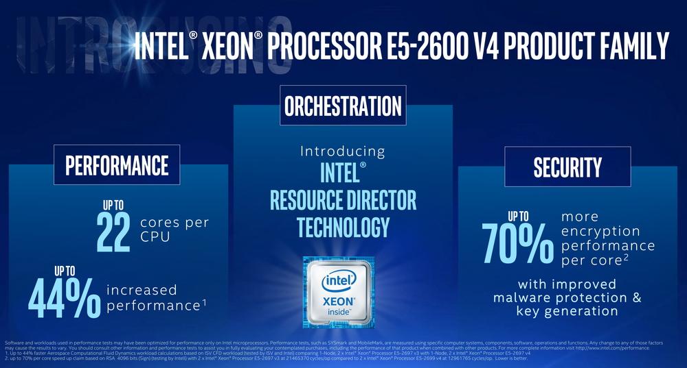 Xeon E5-2600 v4シリーズは、前世代に比べると44%のパフォーマンスアップを果たしている。仮想化関連のIntel Resource Director Technologyで強化。セキュリティ関連も70%の性能アップを果たしている