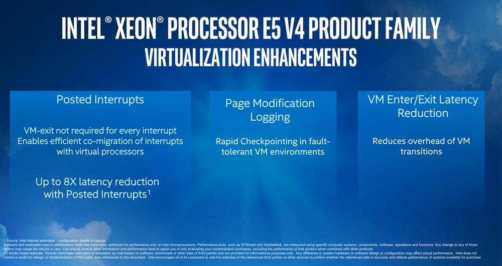 Xeon E5-2600 v4シリーズでは、仮想化機能も強化されている