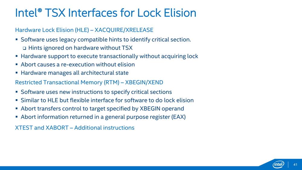 Xeon E5-2600 v3シリーズでは非サポートになったTSXが、きちんとサポートされた(Xeon Dの発表資料より)