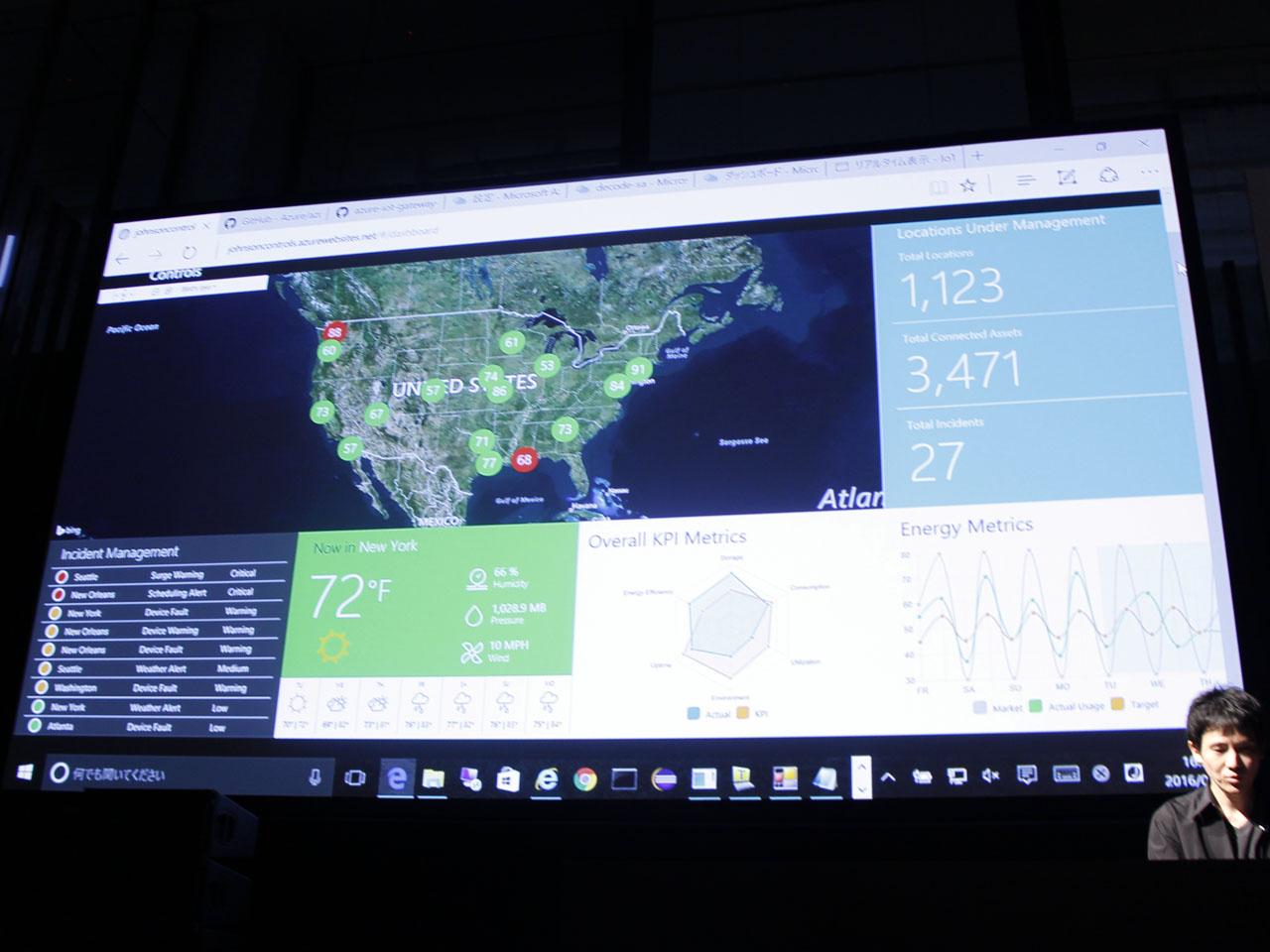 リモートで施設管理を行う米国のビル管理会社でのAzure IoT活用例。赤く表示されたシアトルとニューオリンズのビルにアラートが通知されている