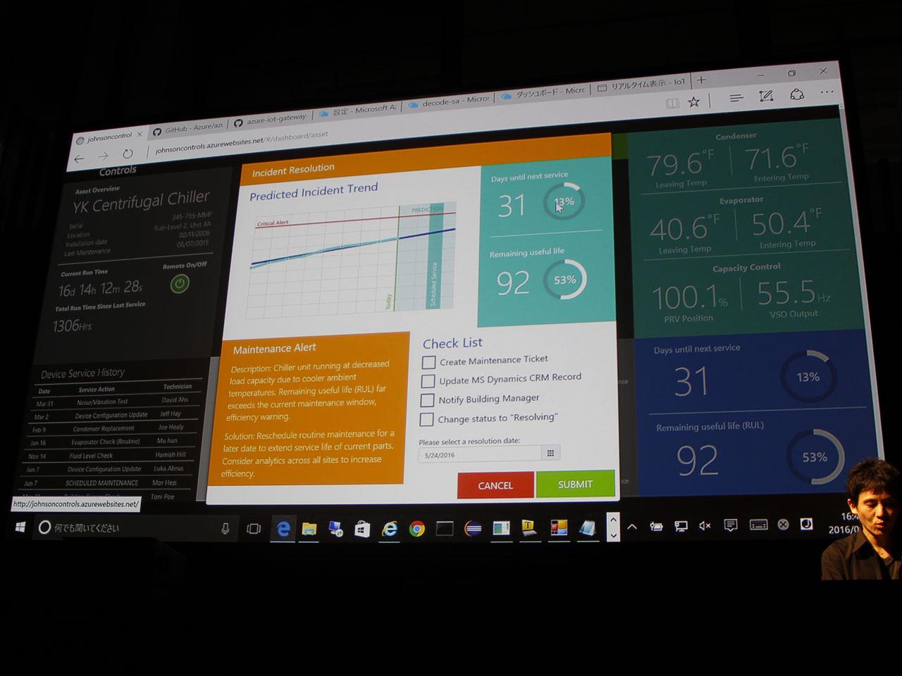 Azure IoT Suiteとの連携で、過去のデータに基づいて、いつしきい値を超えるかを機械学習で予測、ビル施設が故障する前に修理スケジュールを立てるなど、問題に対処できる