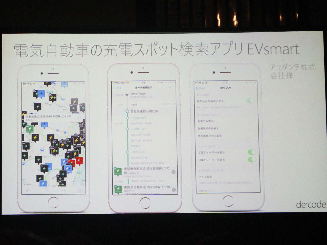 アユダンテ株式会社の電気自動車用充電スポット検索アプリ「EVsmart」