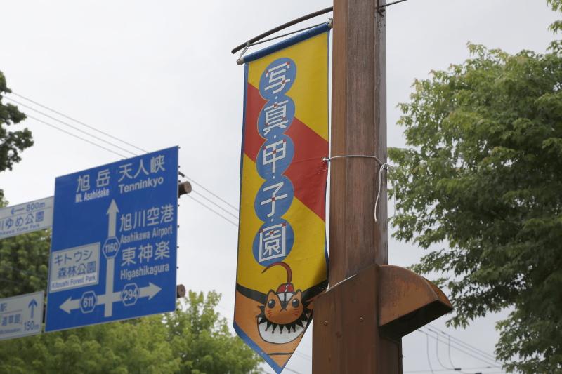 東川町にて。街灯には「写真甲子園」の旗