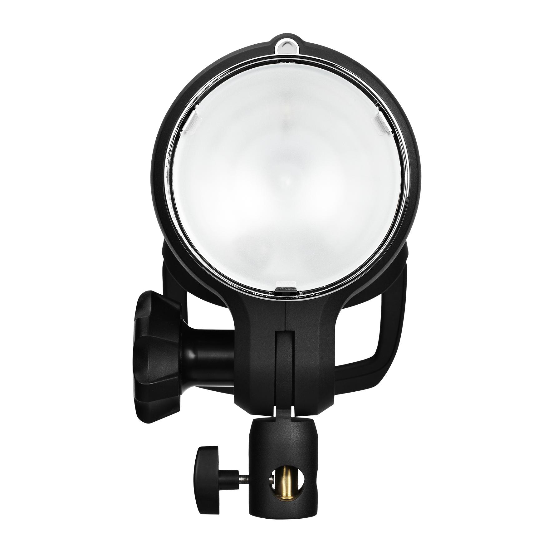 発光部には照射角77度の標準リフレクターが内蔵されている。表面のフロントガラスはすりガラスで標準搭載。拡散光を演出する。これはD1シリーズやB1 500 AirTTLと同じ形状だ