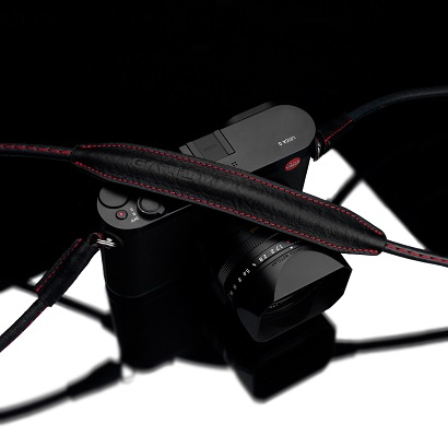 GARIZ Camera Neck Strap 80cmタイプ ブラック(レッドステッチ)