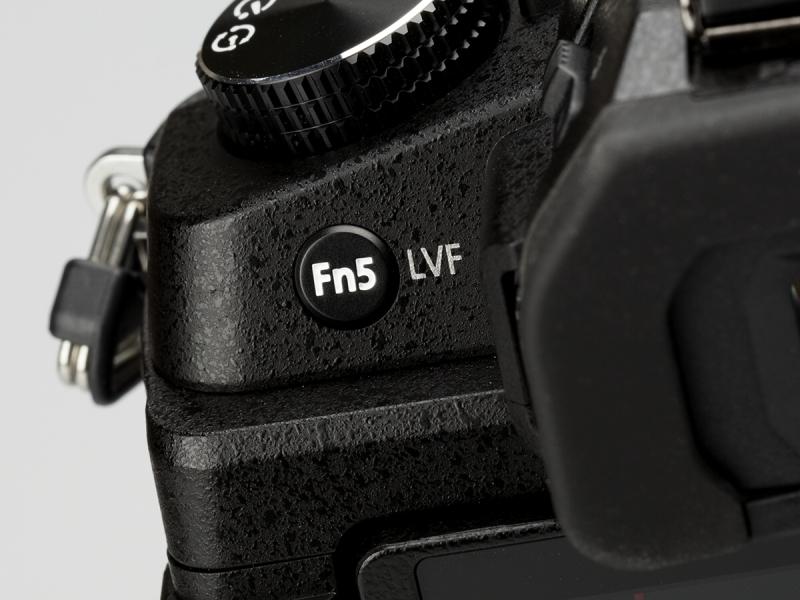 背面左手側はFn5ボタンのみ。ファインダーとモニターの切り替え操作などに利用する。
