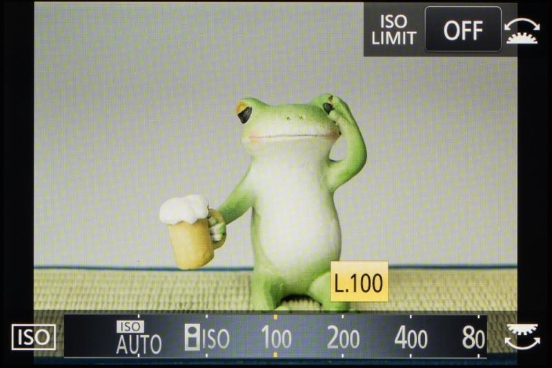拡張感度のISO100は「L」つきで表示される。ハイライト側のダイナミックレンジがやや狭くなるので白飛びには注意が必要となる。
