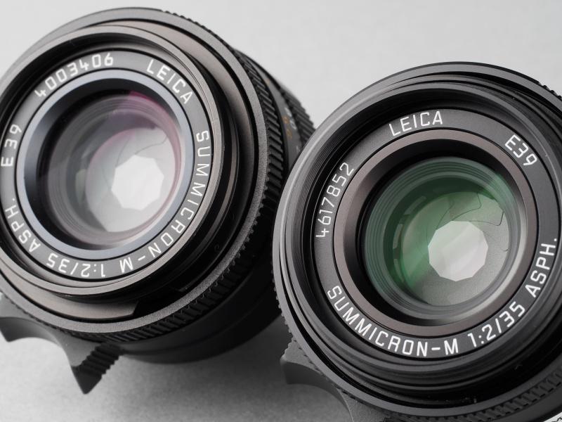 絞り羽根の枚数は従来ズミクロンが8枚なのに対し、現行型は11枚に増えている。レンズ名表記も、カメラに装着したときにひっくり返らない向きに変更された。こうして見るとコーティングも変更されているようだ。