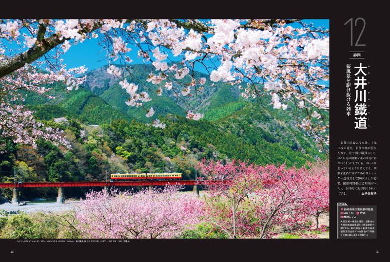 まさに春!という桜の景色。400シーン全てに撮影地、時期、時間帯、推奨レンズを記載
