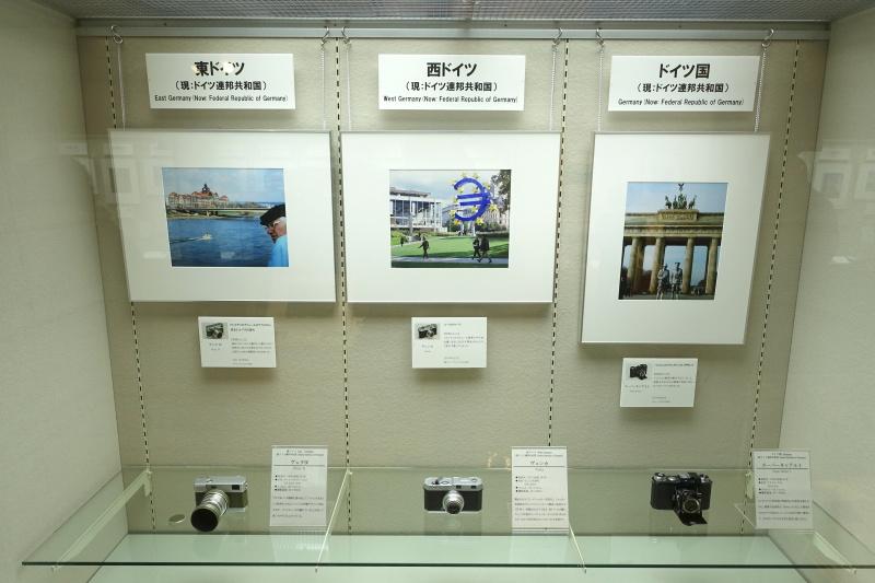 ドイツは東ドイツ、西ドイツ、ドイツ国と3機種を展示。ライカやローライで知られる西ドイツだが、あえてあまり知られていないカメラを選ぶなど、それぞれのセレクトも面白い。