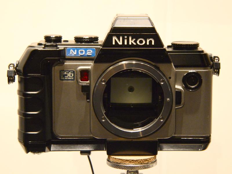 ニコンF-301開発試作機。「F56」のシールはデザイナーが貼ったもの。