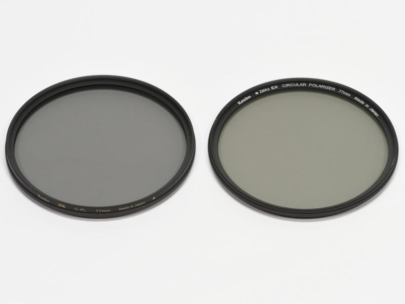 左:ZX C-PLフィルター、右:従来の高透過型PLフィルター