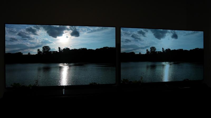 右のSDRでは空と太陽がどちらも白トビしてしまい、太陽の眩しさが再現されていない。全体の色味も異なる