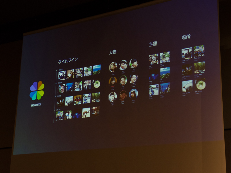 新機能「Moments」では保存した写真が被写体ごとに自動的に整理される。