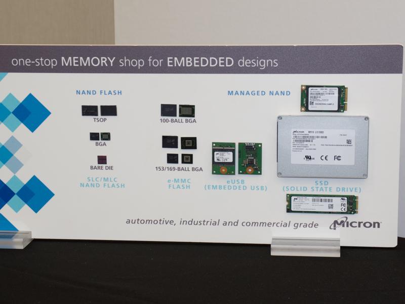 Micronは自社のメモリ製品を展示。