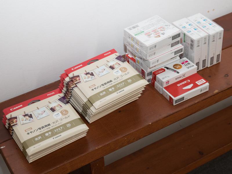 キヤノン純正スクエアサイズ用紙が用意された。
