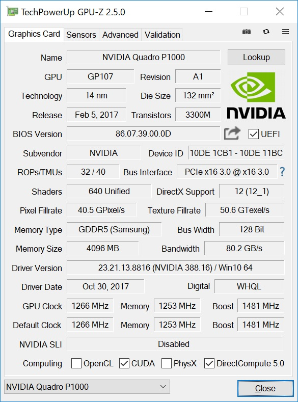 Quadro P1000は最新Pascal世代のワークステーション向けGPU。クリエイティブ、デザインツールに最適化されている。