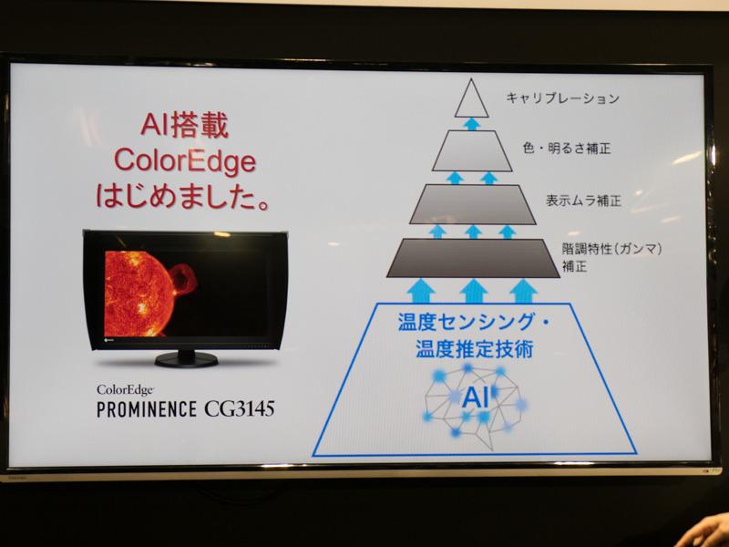 業界初の試みとして、温度制御にAIを活用したハイエンドモニター「ColorEdge PROMINENCE CG3145」(税別約285万円)。
