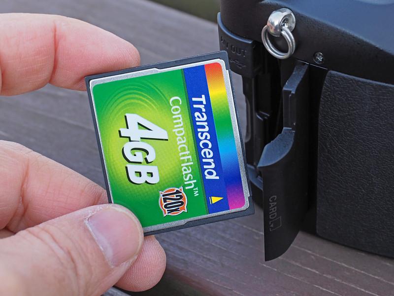 記録メディアはCF(Type IIやマイクロドライブにも対応)。「古いカメラだから1GBくらいのカードで良かろう」と高を括ったら、撮影可能枚数の少なさに焦る(62枚とか)。800万画素のRAW対応モデルをナメたらイカンよ。ということで、4GBのカードを使用。