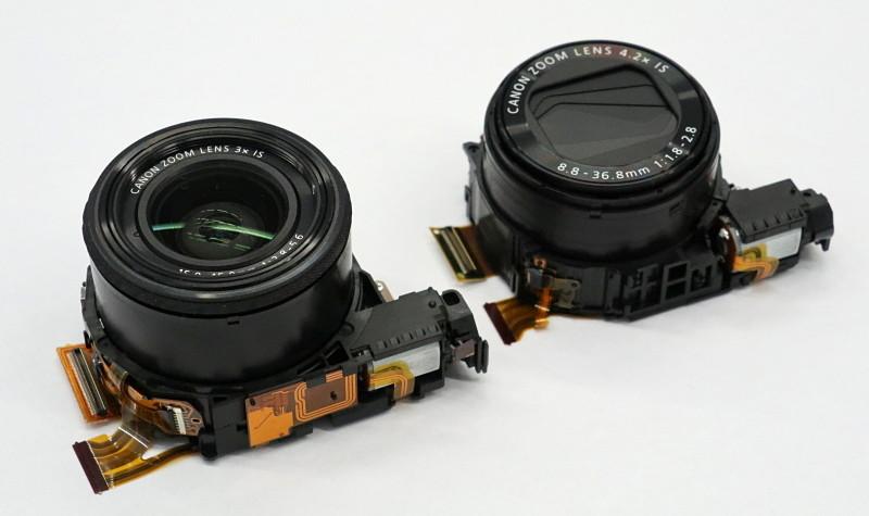 レンズユニットの体積比較。APS-CのG1 X Mark III(左)と、1型のG5 X(右)。裏面から見たセンサーサイズが大きく異なるが、レンズユニットはほぼ同サイズと言える。