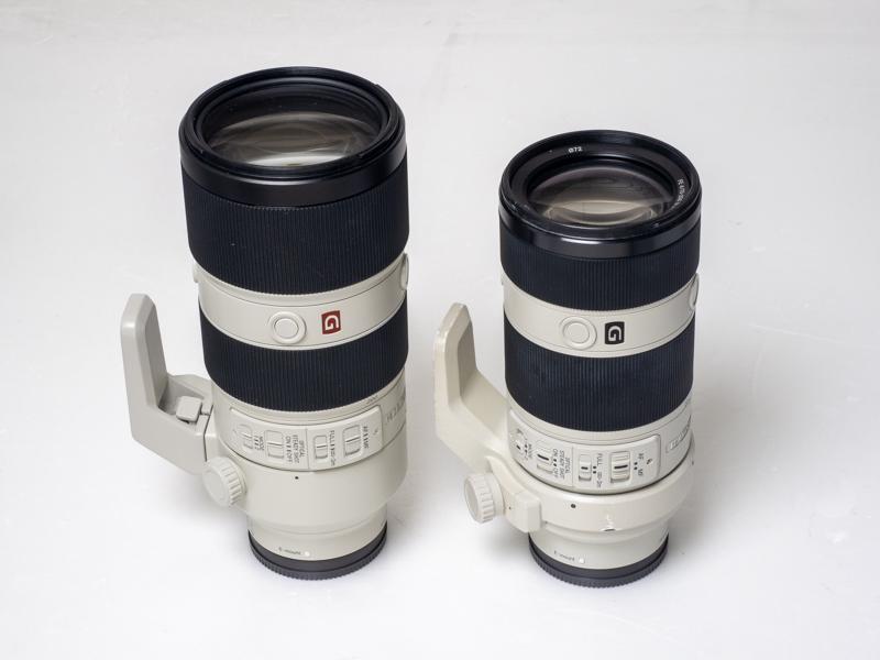 左からFE 70-200mm F2.8 GM OSS、FE 70-200mm F4 G OSS。