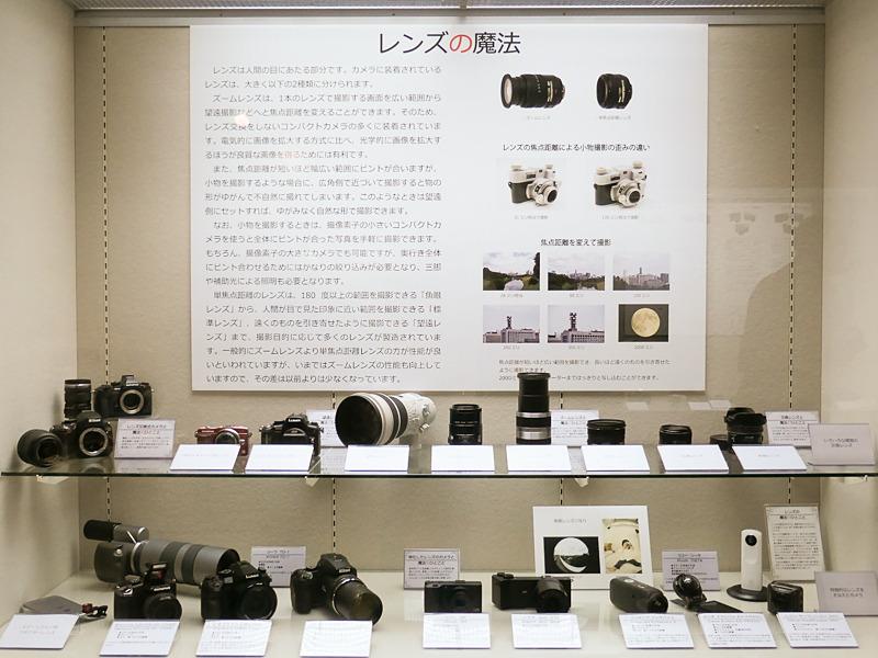 テーマ「レンズの魔法」。ズームレンズ、超望遠レンズ、3Dレンズ、魚眼レンズなど、様々なレンズが並ぶ。物の形状を自然に撮影するテクニックは、日常的なスマートフォンでの撮影にも役立つ。