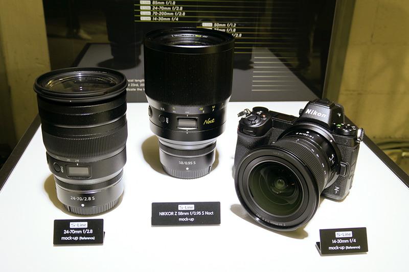 2019年に発売が予定されているNIKKOR Z 58mm f/0.95 S Noctと24-70mm f/2.8、14-30mm f/4(モックアップ)